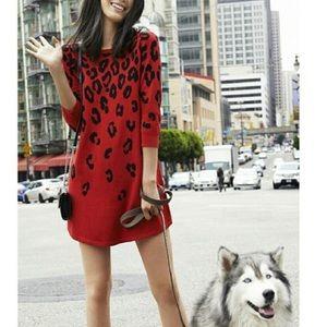Express Half Sleeve Leopard Knit Dress